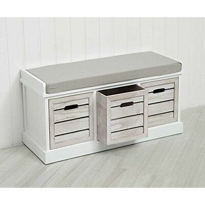 Hallway Storage Bench Seat White Wooden Shoe Drawers Country Cabinet Hall Unit