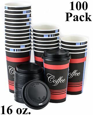 100 Pack 16 Oz. Poly Paper Disposable Hot Tea Coffee Cups with Dome Black Lids