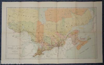 """1904 26.75"""" x 16.5"""" Color Map of Ontario and Quebec (Dominion of Canada)"""