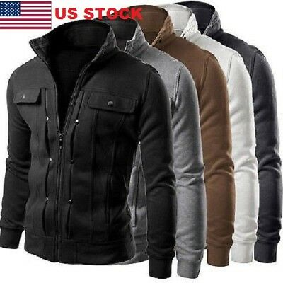 2017 Men's Slim Fit Stand Collar Coat Tops Military Jacket Winter Outwear Blazer