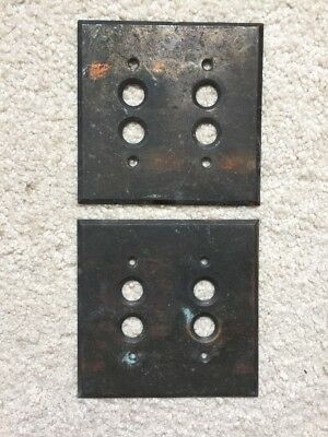 Vintage Brass Antique Double Push Button Wall Light Switch Plate Cover Pair