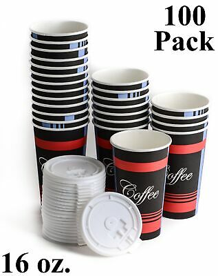 100 Pack 16 Oz. Poly Paper Disposable Hot Tea Coffee Cups with Flat White Lids