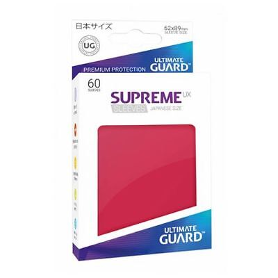 (60) Ultimate Guard SUPREME UX Japanese Size Card Sleeves - RED