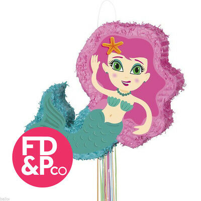 "14 3/4"" 3D Mermaid Ariel Inspired Shape Pull String Pinata Birthday Party Game"