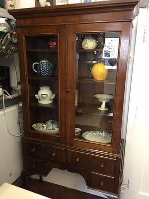 Large Antique *ARMOIRE BOOKCASE DISPLAY CABINET* Glazed Dark Wood QA Legs