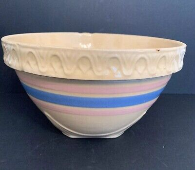 Vintage 1930's McCoy Mixing Bowl Square Bottom Rough Condition Yellow Ware
