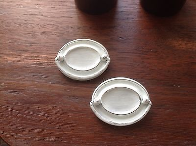 121 VTG Colonial/Mission Pulls White Wash, Shabby Chic Set Of 2