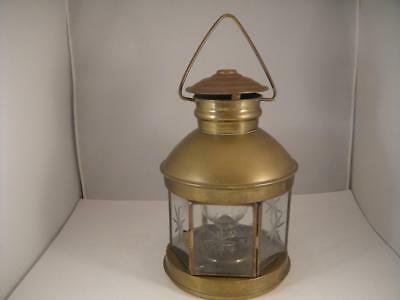 """Vintage Brass Etched Glass Oil Lantern 6 Sided W/Glass Globe and Wick 10"""" VGC"""