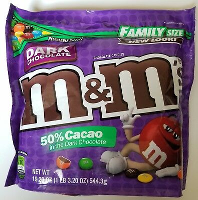 NEW Sealed Dark Chocolate M&M's Family Size 19.20 oz Bag FREE WORLDWIDE SHIPPING