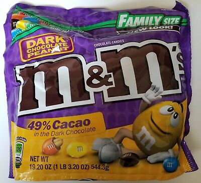 NEW Dark Chocolate Peanut M&M's Family Size 19.20 oz Bag FREE WORLDWIDE SHIPPING