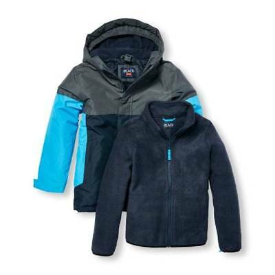 NWT-Boys Childrens Place Blue 3-In-1 Waterproof Hooded Winter Snow Jacket-sz 5/6