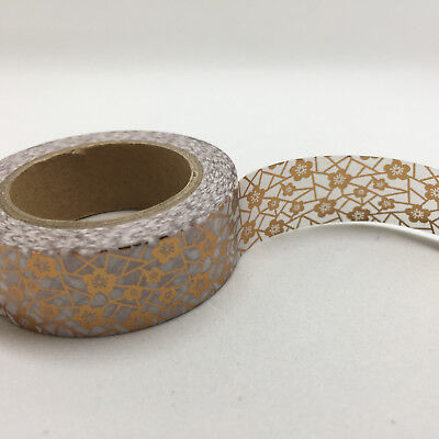 Washi Tape Foil Rose Gold Sakura & Crackle  15Mm Wide X 10Mtr Plan Craft Wrap