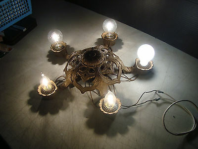 "ATQ ""Works!"" ART DECO VICTORIAN CAST METAL CHANDELIER CEILING LIGHT FIXTURE 20'S"