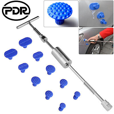 Paintless Dent Repair 11pc PDR 2-In-1 Slide Hammer T Bar Puller Tabs Tools Set