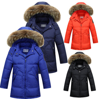 Winter Kids Boys Duck Down Coat Snowsuit Real Fur Hooded Jacket parka Thick Gift