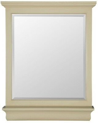 Vanity Wall Mirror Beveled Glass Edge Antique White Rectangle Frame Hang Mount