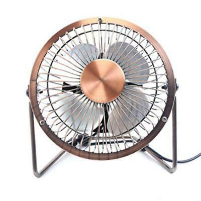 Adjustable USB Desk Fan Metal Archaistic Fan Personal Mute Fan Copper Color