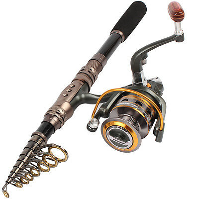 Travel Portable Telescopic Spinning Fishing Combos Rod and Reel Kits Bass Trout
