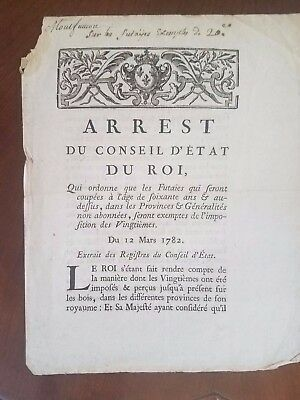 Older French Document Dated March 12, 1782