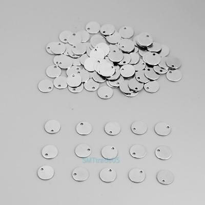 New 100pcs Round Tags Stainless Steel Stamping Blanks Charm Pendant DIY Jewelry