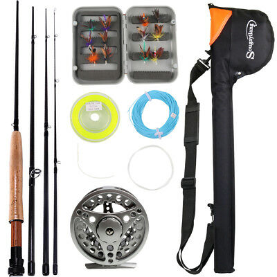 Fly Fishing Rod Combos Pole Reel Lines Flies Bag Complete Fly Fishing Tackles