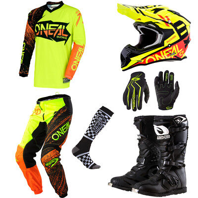 ONeal Element Hi-Viz motocross gear - Jersey Pants Gloves Helmet Boots Combo