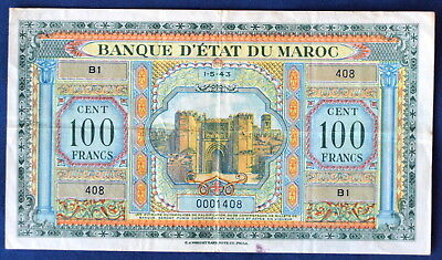 Morocco 100 Francs, 1-5-43, P-27, Series B1, low serial number 0001408!