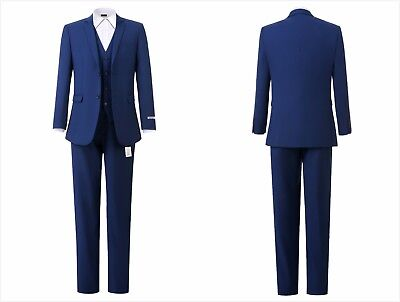 Men suits Blue Slim Fit Wedding Groomsman Work Party Prom Suit 3 Piece Tuxedo