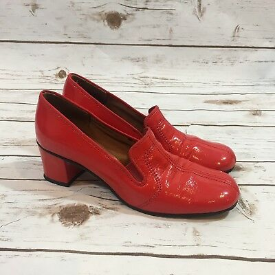 Vintage 60s Naturalizer Cherry Red Patent Leather Womens Heels Shoes Size 6B