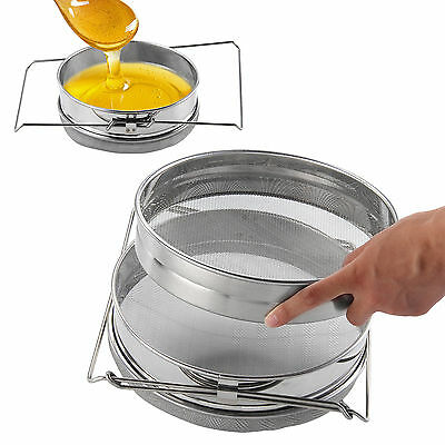 Stainless Steel Beekeeping Double Honey Sieve Strainer Filter Apiary Equip Tools