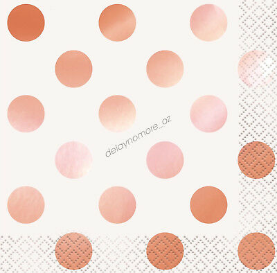 16 Rose Gold Dots Foil BEVERAGE Small Napkins Wedding Birthday Party Serviettes