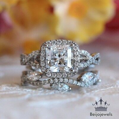 Diamond Wedding Bridal Set 14K White Gold Princess Round Cut Engagement Ring