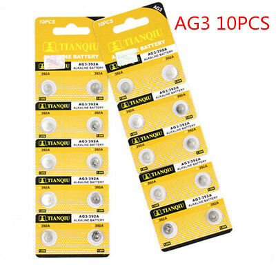 10PCS AG3 LR41 392 SR41 192 1.5V Alkaline Coin Button Cells Watch Battery New HS
