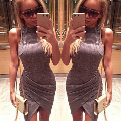 Women Sexy Sleeveless Bodycon Bandage Casual Party Cocktail Club Wear Mini Dress
