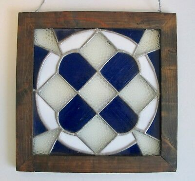 Stained Glass Window Panel Hanging Square Geometric Leaded Hand Cut Crafted Wood