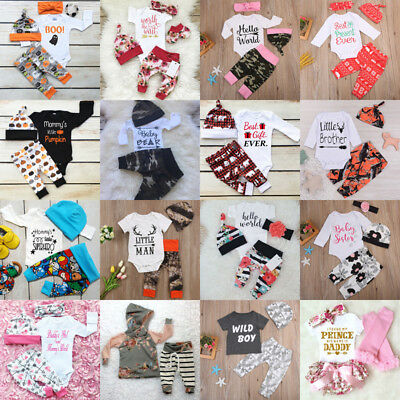 Toddler Baby Boys Girls Tops T-shirt +Pants Outfits Playsuit Cotton Clothes Set