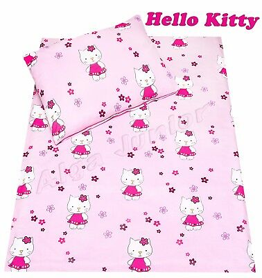 Baby toddler cot cot bed set duvet cover pillowcase 100%cotton Hello Kitty pink