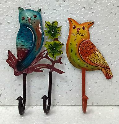 Iron Handcrafted Owl Hand Painted Wall Hook Hanger Wall Decor Art Lot of 2