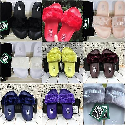 New Summer PuMa Rihanna Lead Cat Fur Slides Fenty collection 9 colours Slipper