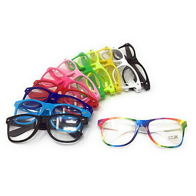 CLEAR LENS NOVELTY GLASSES Nerd Geek Hipster Fancy Dress Mens Ladies Women Party