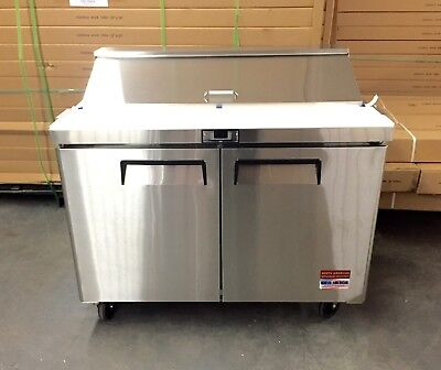 "Sandwich Prep Unit 48"" Table Salad Refrigerator Prep  Cooler 2 Door 12 Pan"