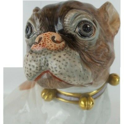 "8½"" Antique Dresden Porcelain Pug with Beautiful Bells and a Bow Collar"
