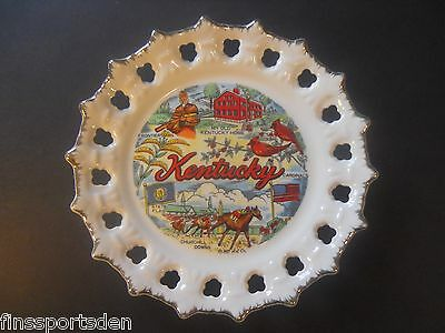 KENTUCKY SOUVENIR PLATE Churchill Downs Horse Racing Cardinals Frontiersman Flag