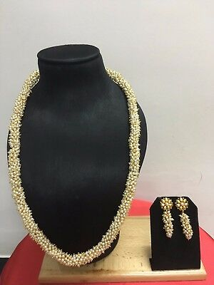 Bollywood Indian Fashion Gold Plated Pearl Beads Jewelry Necklace Earrings Set