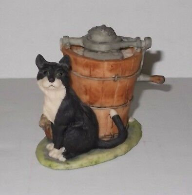 Lowell Davis Sunday Afternoon Black & White Cat Figurine Schmid Border Fine Arts