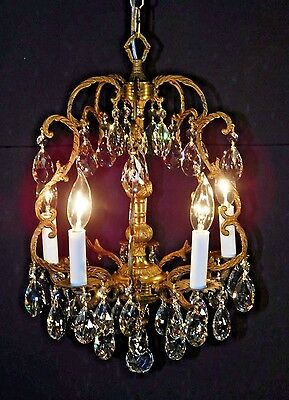 ANTIQUE French 5 Arm 5 Lite Brass Petite Birdcage Lead Cut Crystal Chandelier