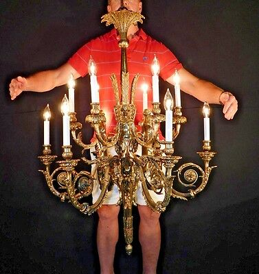 MASSIVE Antique Figural Bronze 12 Lite Chandelier purchased for $45k in 1990