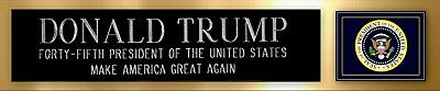 Donald Trump US President Signed Photo Nameplate Make America Great Again Gold