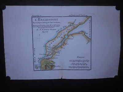 Hellesport Ancient Greece Asia Minor Dardanells 1782 Map Hand Colored Turkey