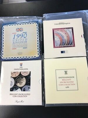 Lot 4 United Kingdom BU UNC Coin Collection 1986, 1989, 1990, 1991 Royal Mint